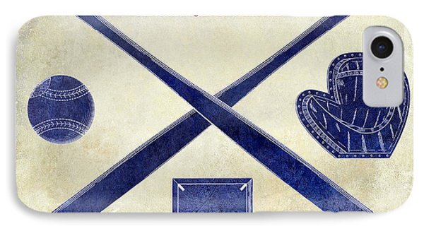 1838 Baseball Drawing 2 Tone IPhone Case by Jon Neidert