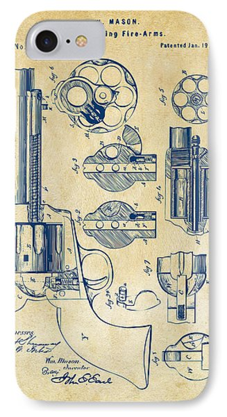 1875 Colt Peacemaker Revolver Patent Vintage IPhone Case by Nikki Marie Smith
