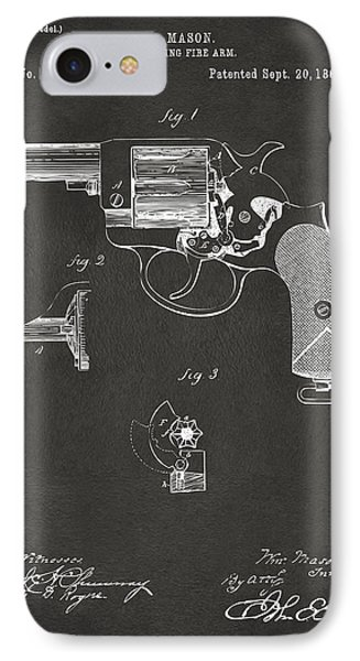 1881 Mason Colt Revolving Fire Arm Patent Artwork - Gray IPhone Case by Nikki Marie Smith