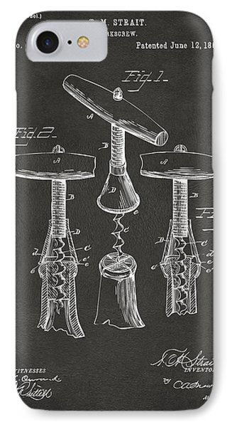 1883 Wine Corckscrew Patent Artwork - Gray IPhone Case by Nikki Marie Smith
