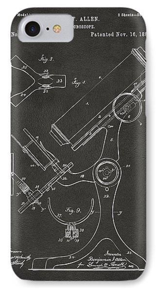 1886 Microscope Patent Artwork - Gray Phone Case by Nikki Marie Smith