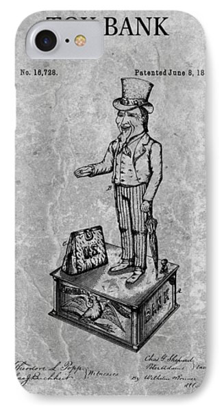 1886 Toy Bank Patent Charcoal IPhone Case by Dan Sproul
