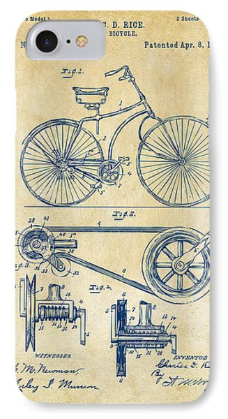 1890 Bicycle Patent Artwork - Vintage IPhone 7 Case by Nikki Marie Smith