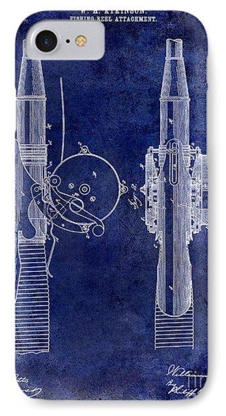 1890 Fishing Reel Patent Drawing  Blue IPhone Case by Jon Neidert