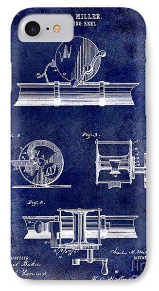 1891 Fishing Reel Patent Drawing Blue IPhone Case by Jon Neidert