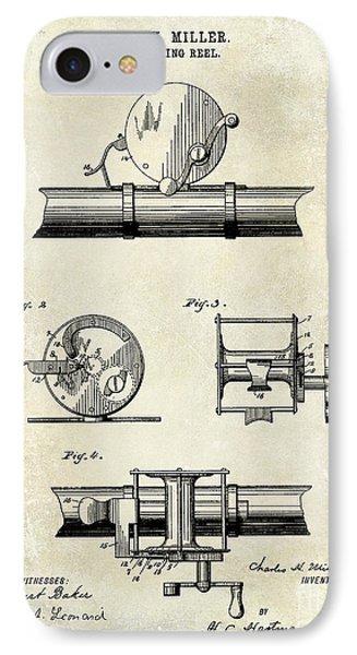 1891 Fishing Reel Patent Drawing IPhone Case by Jon Neidert