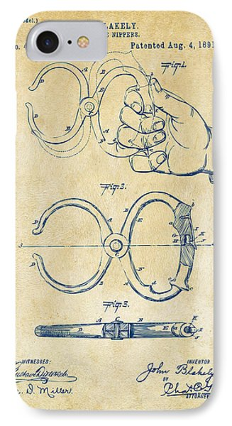 1891 Police Nippers Handcuffs Patent Artwork - Vintage IPhone Case by Nikki Marie Smith