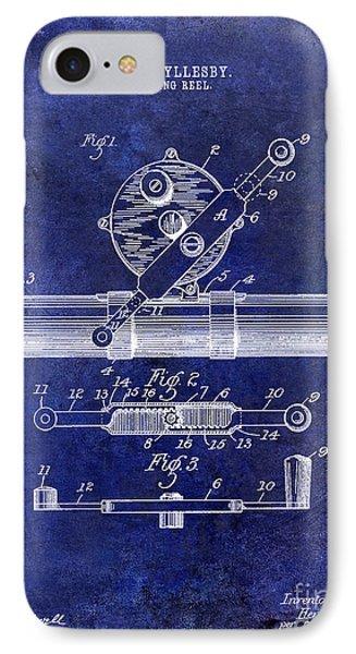1892 Fishing Reel Patent Drawing Blue IPhone Case by Jon Neidert