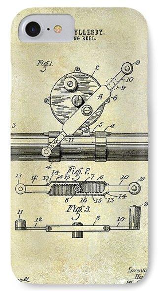 1892 Fishing Reel Patent Drawing  IPhone Case by Jon Neidert