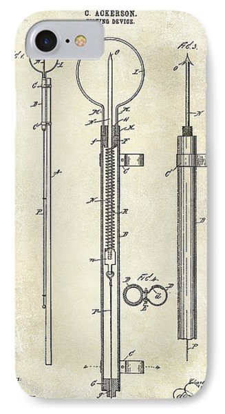 1896 Fishing Device Patent Drawing IPhone Case by Jon Neidert