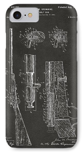 1899 Browning Bolt Gun Patent Gray IPhone Case by Nikki Marie Smith