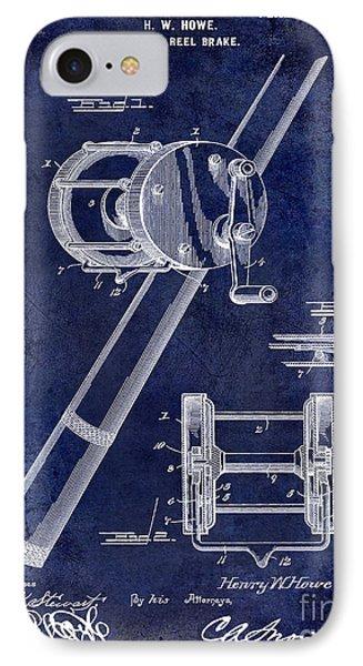 1899 Fishing Reel Brake Patent Drawing Blue IPhone Case by Jon Neidert