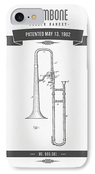 1902 Trombone Patent Drawing IPhone 7 Case by Aged Pixel