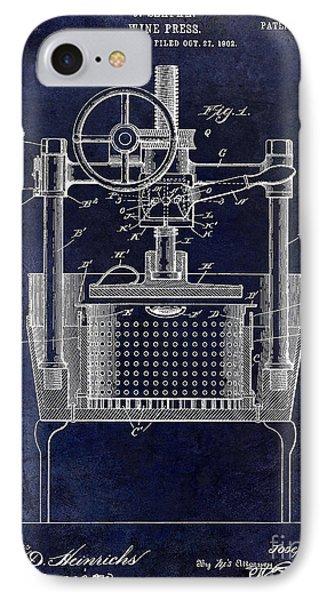 1902 Wine Press Patent Drawing Blue IPhone Case by Jon Neidert