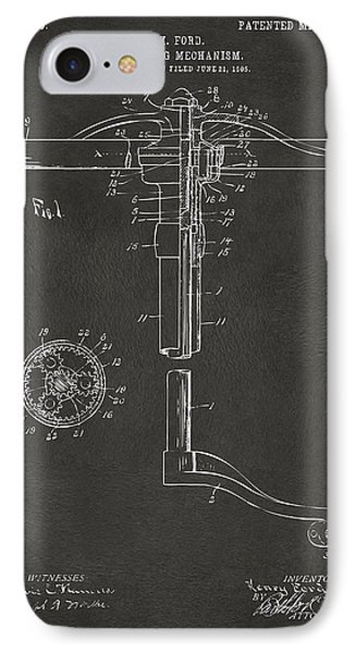 1907 Henry Ford Steering Wheel Patent Gray IPhone Case by Nikki Marie Smith