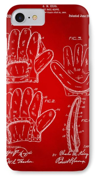 1910 Baseball Glove Patent Artwork Red IPhone Case by Nikki Marie Smith