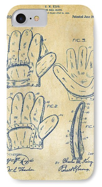 1910 Baseball Glove Patent Artwork Vintage IPhone Case by Nikki Marie Smith