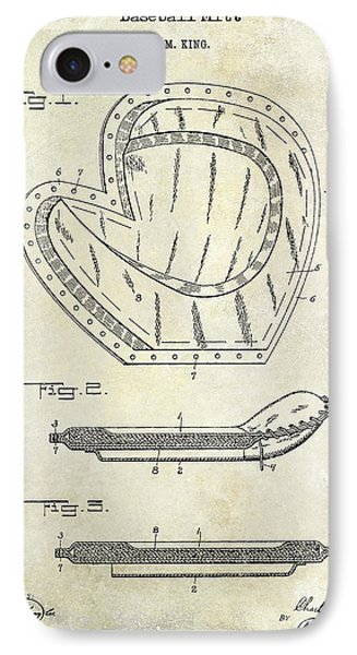 1910 Baseball Patent Drawing IPhone Case by Jon Neidert