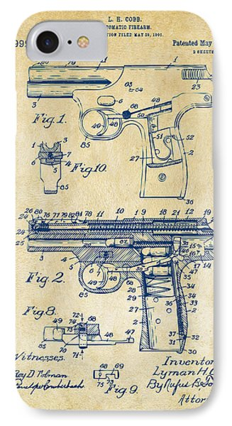 1911 Automatic Firearm Patent Artwork - Vintage IPhone Case by Nikki Marie Smith