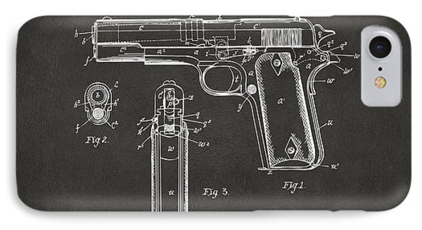 1911 Browning Firearm Patent Artwork - Gray IPhone Case by Nikki Marie Smith