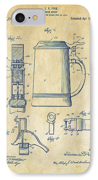 1914 Beer Stein Patent Artwork - Vintage IPhone 7 Case by Nikki Marie Smith