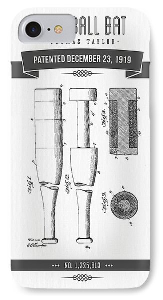 1919 Baseball Bat Patent Drawing IPhone Case by Aged Pixel