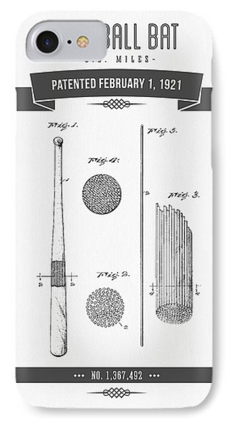 1921 Baseball Bat Patent Drawing IPhone Case by Aged Pixel