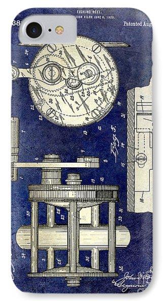 1921 Fishing Reel Patent Drawing 2 Tone Blue IPhone Case by Jon Neidert