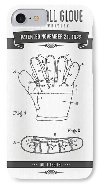1922 Baseball Glove Patent Drawing IPhone 7 Case by Aged Pixel