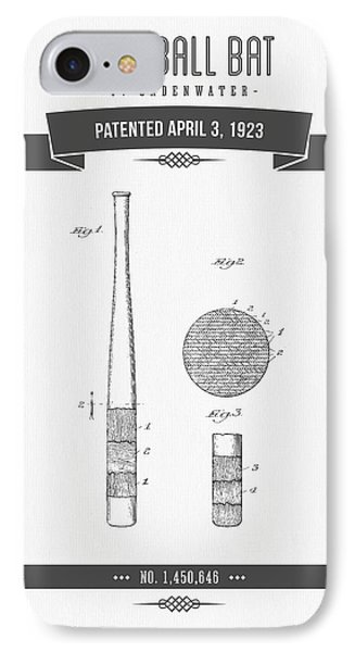 1923 Baseball Bat Patent Drawing IPhone Case by Aged Pixel