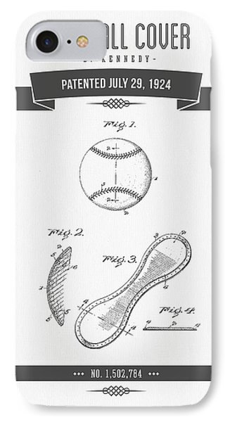 1924 Baseball Cover Patent Drawing IPhone Case by Aged Pixel