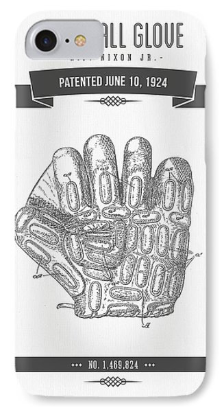 1924 Baseball Glove Patent Drawing IPhone Case by Aged Pixel