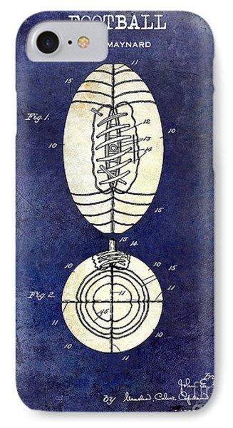1925 Football Patent Drawing 2 Tone Blue IPhone Case by Jon Neidert