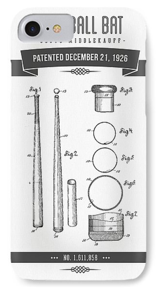 1926 Baseball Bat Patent Drawing IPhone Case by Aged Pixel