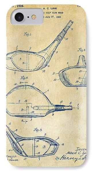 1926 Golf Club Patent Artwork - Vintage IPhone 7 Case by Nikki Marie Smith