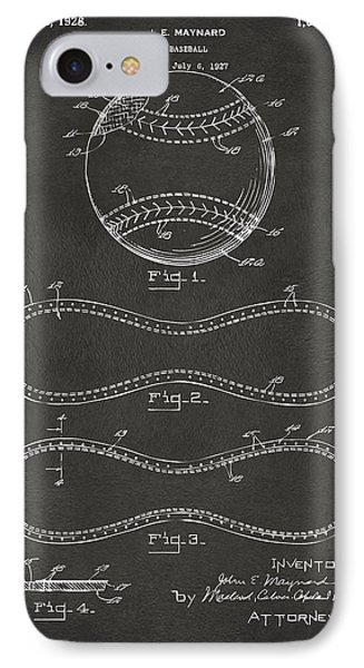 1928 Baseball Patent Artwork - Gray IPhone 7 Case by Nikki Marie Smith