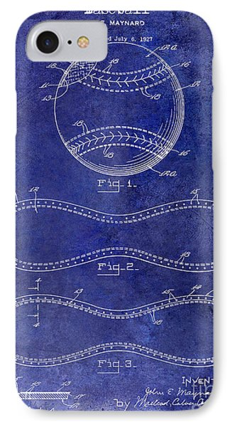 1928 Baseball Patent Drawing  Blue IPhone Case by Jon Neidert