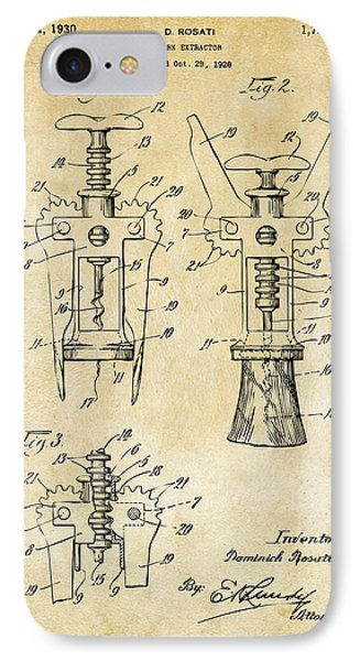 1928 Cork Extractor Patent Art - Vintage Black IPhone Case by Nikki Marie Smith