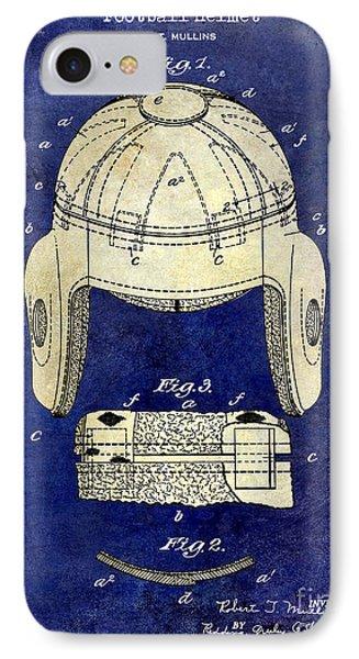 1929 Football Helmet Patent Drawing 2 Tone Blue IPhone Case by Jon Neidert
