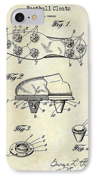 1930 Football Cleats Patent Drawing IPhone Case by Jon Neidert