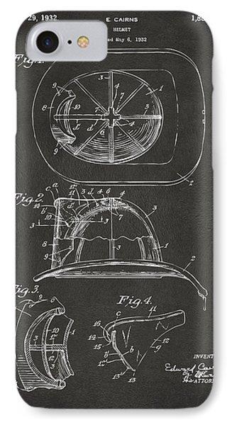 1932 Fireman Helmet Artwork - Gray IPhone Case by Nikki Marie Smith