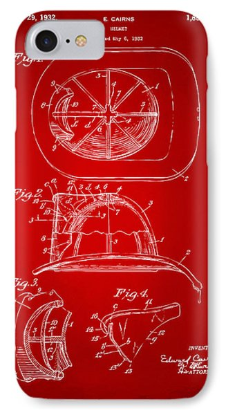 1932 Fireman Helmet Artwork Red IPhone Case by Nikki Marie Smith