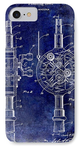 1933 Fishing Reel Patent Drawing IPhone Case by Jon Neidert