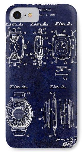 1933 Watch Case Patent Drawing Blue IPhone Case by Jon Neidert