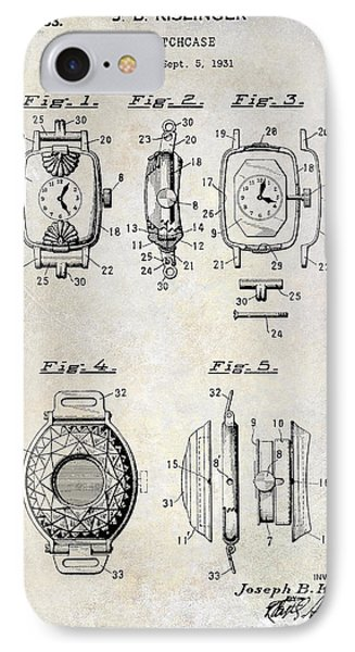 1933 Watch Case Patent Drawing  IPhone Case by Jon Neidert