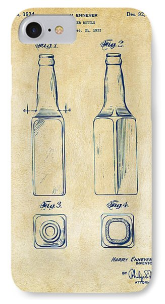 1934 Beer Bottle Patent Artwork - Vintage IPhone 7 Case by Nikki Marie Smith
