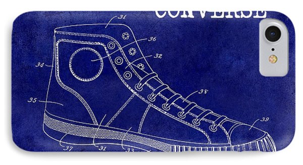 1934 Converse Shoe Patent Drawing Blue IPhone Case by Jon Neidert