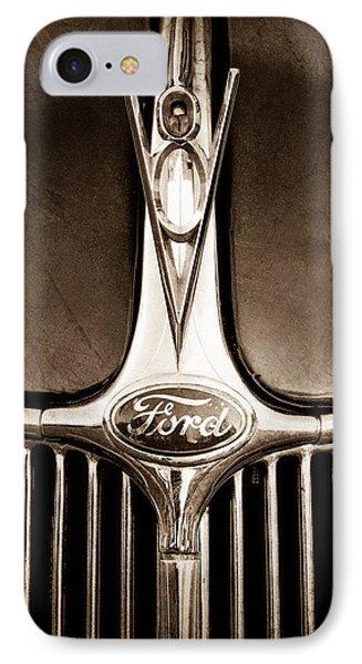 1936 Ford Phaeton V8 Hood Ornament - Emblem IPhone Case by Jill Reger