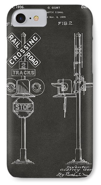 1936 Rail Road Crossing Sign Patent Artwork - Gray IPhone 7 Case by Nikki Marie Smith
