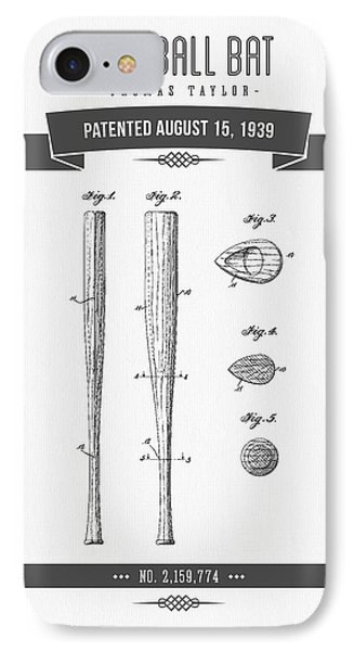 1939 Baseball Bat Patent Drawing IPhone 7 Case by Aged Pixel